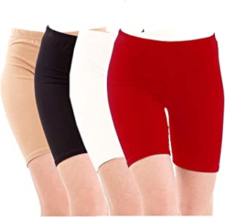 Pixie Biowashed Cycling Shorts for Girls/Women/Ladies Combo (Pack of 4) Beige, Black, White, Red - Free Size