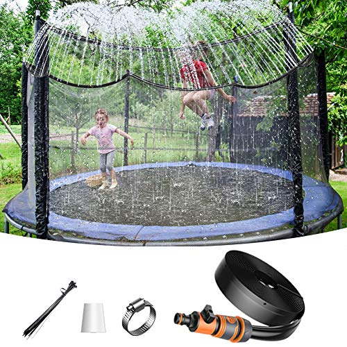 U UZOPI Trampoline Sprinkler Misting Cooling System - Misting Accessories 49FT(15M) Water Park Fun Summer Games Activities Outdoor Mister for Patio Garden Greenhouse Trampoline for waterpark