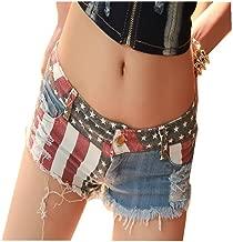 Queenship Women's Low-Rise American Flag Print Daisy Duke Ripped Denim Shorts