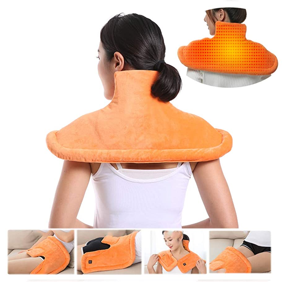 ハシー予防接種するバイソン首の肩の背部暖房パッド、マッサージのヒートラップの熱くするショールの減圧のための調節可能な強度フルボディマッサージ首の肩暖房湿った熱療法のパッド