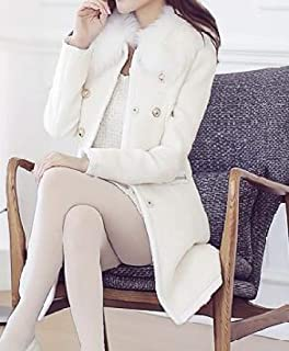 Womens Lapel Faux Fur Collar Stylish Long Sleeve Wool Blend Trench Coat