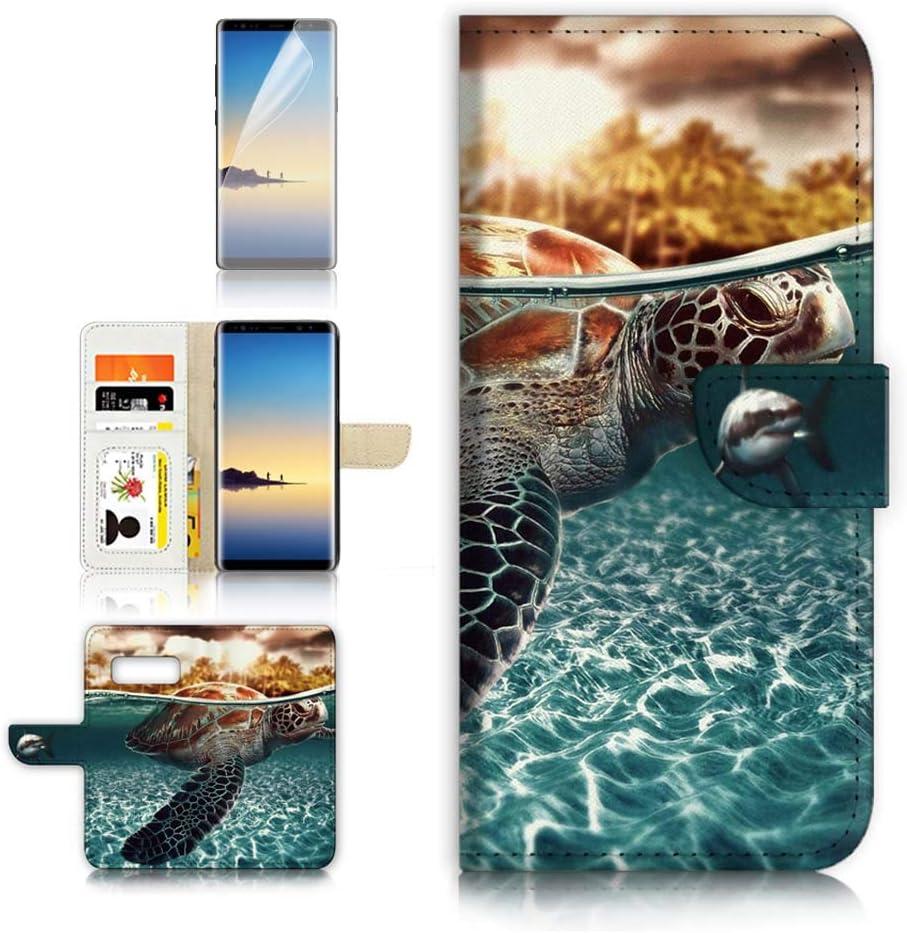 (for Samsung Galaxy S10e) Flip Wallet Case Cover & Screen Protector Bundle - A3247 Turtle