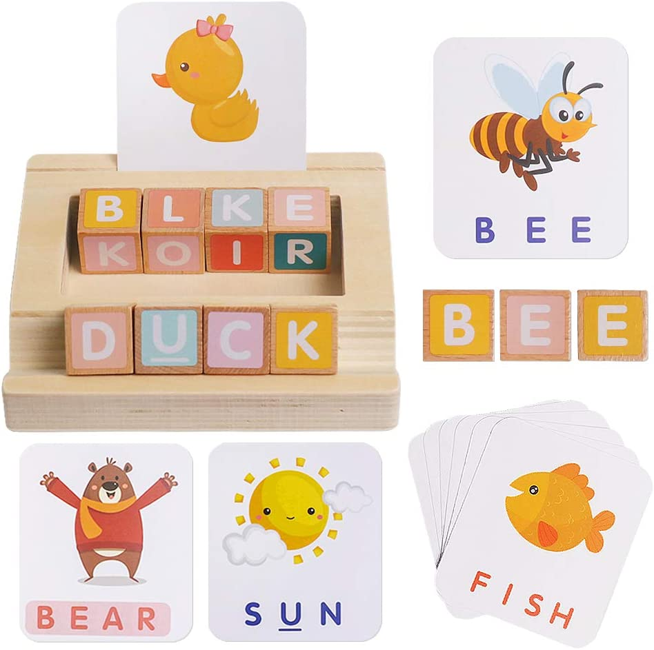 Matching Letter Max 64% OFF Game for Kids Spelling Reading Blocks Wooden Dealing full price reduction