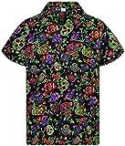 V.H.O. Funky Camisa Hawaiana, Skull, multiblack S