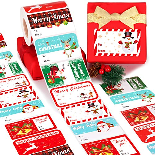 "Gift Tag Stickers, Christmas Tags for Gifts 500+ Pcs, Christmas Name Tags - Christmas Stickers, to from Gift Tags Stickers, Gift Sticker Labels Large, 8 Designs Self Adhesive Labels - 2.8""*1.6"""