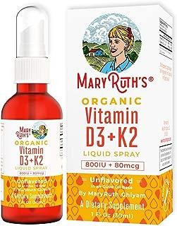 Organic Vitamin D3+K2 (MK-7) Liquid Spray by MaryRuth's Non-GMO Vegan Gluten Free Paleo, Ketogenic, Bariatric Friendly and Celiac Friendly. for Men, Women & Children 1oz Glass Bottle