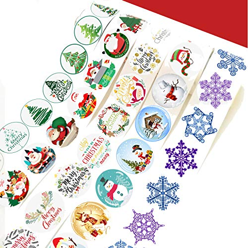 1000pcs Christmas Holiday Stickers Party Favors - 5 Rolls 1-3/5 Inch Santa, Christmas Tree, Snowflake, Snowman and Merry Christmas Stickers for Xmas Party Favors Supplies, 40 Styles