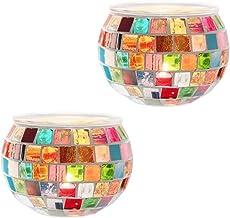DerBlue 2Pcs Votive Candle Holders Mosaic Glass Jars Votive Tealight Candle Holders for Holidays, Weddings, Parties Home D...