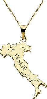 Lot Pendentif carte Italie Plaqué Or 18 carats + Chaîne 50cm Plaqué Or