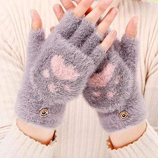 Women's Winter Warm Touch Screen Gloves Cute Cat Claw Sensory Fingerless Gloves Knitted Fluff Outdoor Flip cover Gloves 1 Pair Women's Gloves