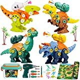Gvoo Démontage Jouet Dinosaure, Jeux de Construction Dinosaures avec Lance Fléchette Tapis de Jeu, 4 Bricolage Dinosaures avec Perceuse Électrique Jouet Enfant STEM Cadeau pour Garçons Filles 6 Ans
