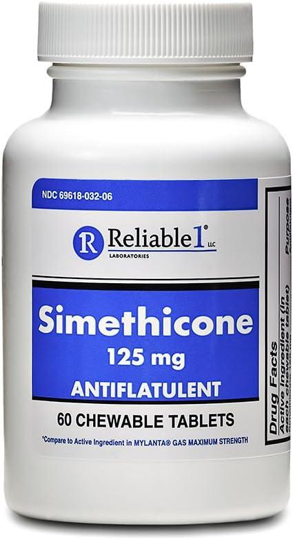 Reliable 1 Laboratories Simethicone 125 MG Antiflatulent Chewable Tablets 60 Count : Health & Household