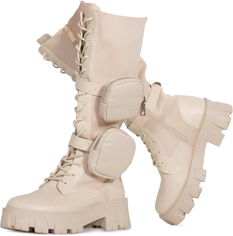 RF ROOM OF FASHION Women's Lug Sole Knee High Combat Boots