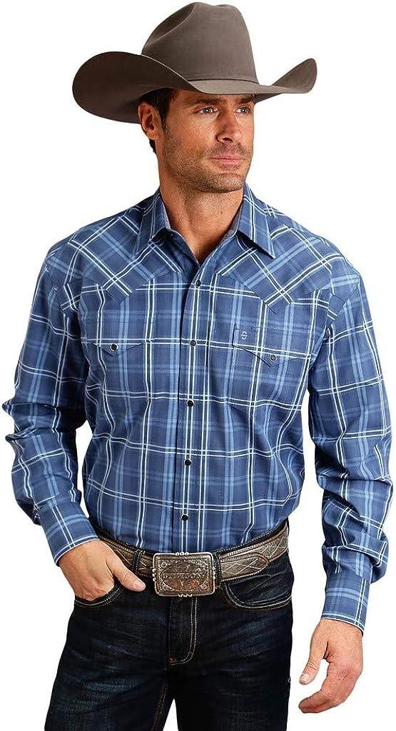Stetson Western Shirt Mens Plaid L/S Snap Blue 11-001-0978-0764 BU