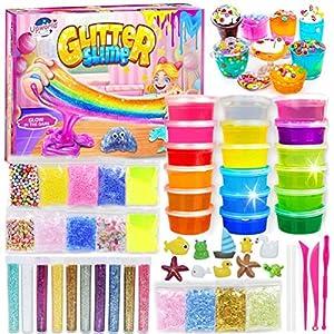 DIY Slime Kit para Niñas Niños, Fabrica de Slime con 18 Colores Crystal Slime, Resplandor en el Polvo Oscuro, Polvo de Brillo y Más para Los Amantes del Unicornio Juguete Niños 5+Años