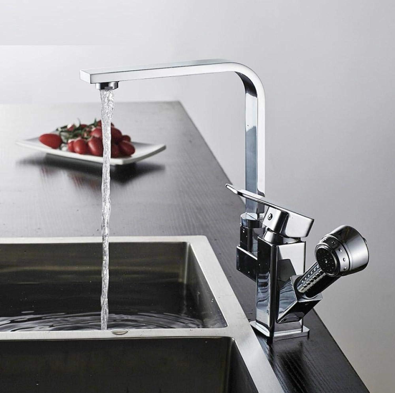 Küchenarmatur herausziehen 360-Grad-Drehung Küchenmischbatterien Messing heien und kalten Armaturen mit Handbrause