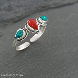 Boho Sterling Silver Ring With Red Coral and Turquoise Stones, Open and Adjustable Tribal Oval Stone Ring, Hippie Ethnic Handmade Natural Stone Ring, Unisex Indian Jewelry For men and women
