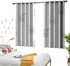 Diversified Curtains Seamless Background Pattern with Milk Carton Customized Personalized Soft Light Blocking W62.9 xL72