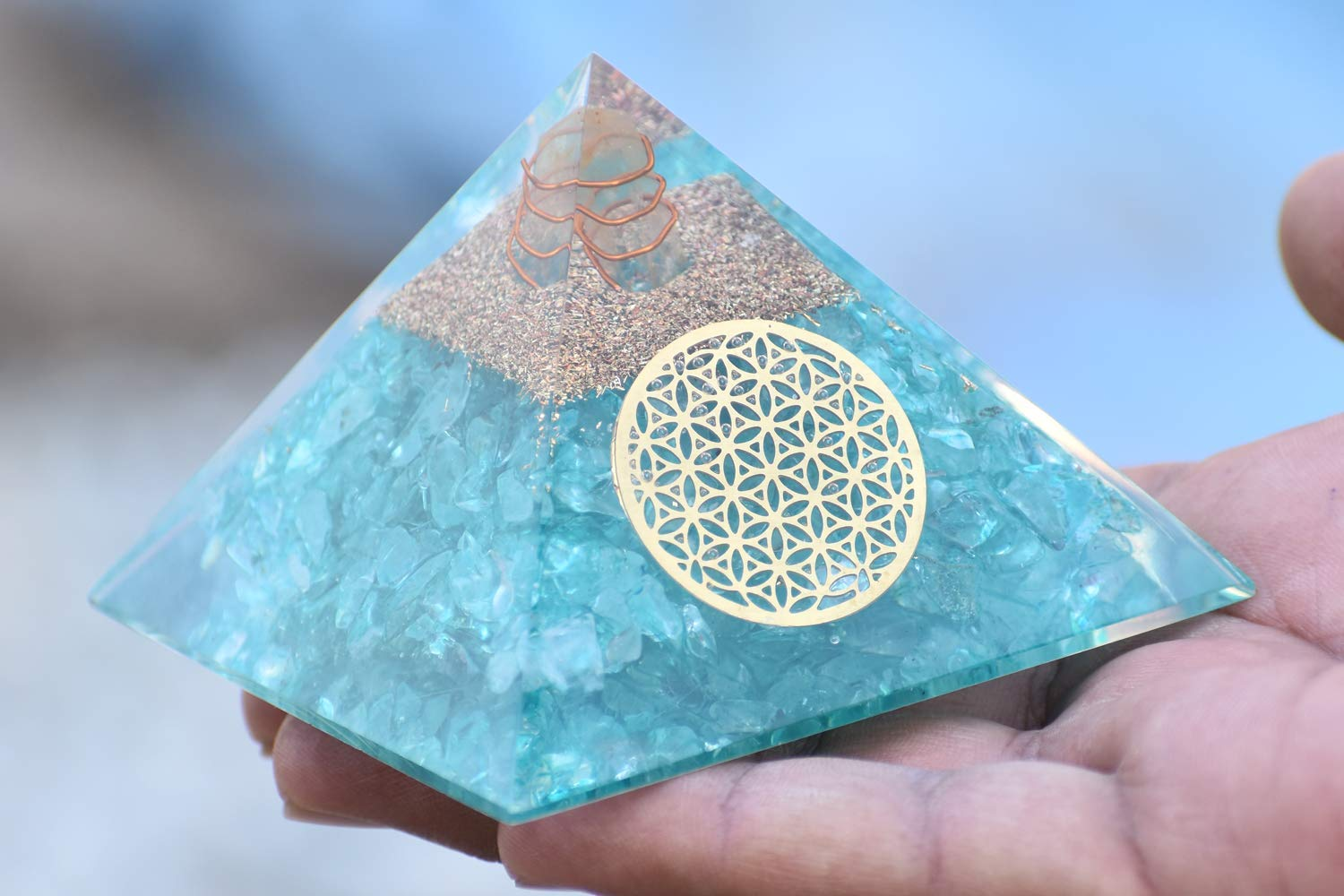 Aquamarine Orgone Pyramid - Healing 2021 new We OFFer at cheap prices Crystal Orgonit Protection