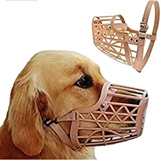 Pets Empire Pet Muzzles Portable Plastic No Bite Basket Adjustable Dog Muzzle Mask Cage Mouth Mesh for Biting and Barking ...