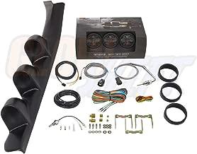 GlowShift Diesel Gauge Package for 1988-1994 Chevrolet Chevy C/K 2500 3500 Truck - Black 7 Color 60 PSI Boost, 2400 F Pyrometer EGT & Transmission Temperature Gauges - Black Triple Pillar Pod