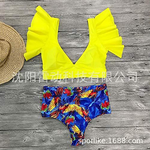 Damespush-up bikinisets met bloemenprint, retro bikini met hoge taille, vest met ruches, diep zwempak met V-topje, XL, tribal bedrukte driedelige tankini-set
