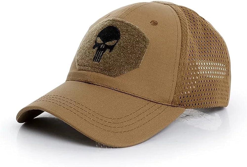Skull Mesh Baseball Cap Men Cool Fitted Tactical Breath Outdoor Sport Hats