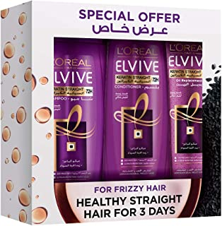 L'Oreal Paris Elvive Goodbye Set of 3 Pieces Shampoo For Frizzy Hair, 400 ml with Conditioner, 400 ml and Oil Replacement,...