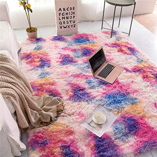Meeting Story Shaggy Tie Dye Rugs for Girls Kids Bedroom Living Room Play Room, Rainbow Indoor Modern Rugs Floor Mat Carpet, Soft Thick Plush Area Rug Non Slip (Pink Purple 3x5 Feet)