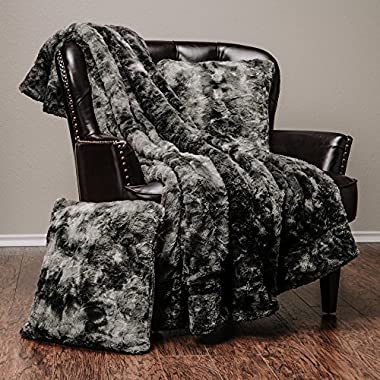 Chanasya 3-Piece Faux Fur Throw Blanket Pillow Cover Set - Super Soft Fuzzy Cozy Fluffy Plush Sherpa Throw (50  x 65 ) & 2 Throw Pillow Covers (18 x18 ) - for Couch Bed Chair Sofa Daybed - Grey