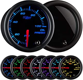 GlowShift Tinted 7 Color 100 PSI Oil Pressure Gauge Kit - Includes Electronic Sensor - Black Dial - Smoked Lens - For Car & Truck - 2-1/16