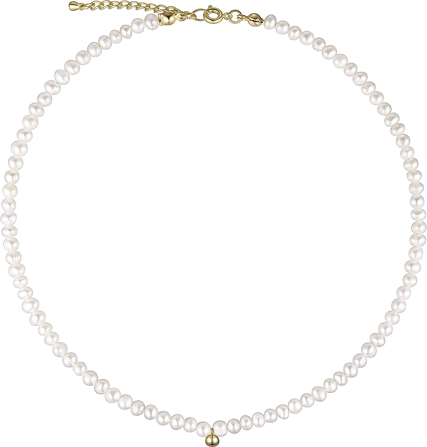 Cowlyn Pearl Strands Choker Necklace 18K Gold Bead Ball Pendant Baroque Pearls Tiny Short Chain Handmade Vintage Jewelry for Women(with Gift Box)