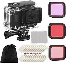 Artman Housing Case Filter Kit for GoPro Hero 7 Hero 6 Hero 5 Black, Waterproof Case Diving Protective Housing Shell + 3 Pack Filter + 24 Anti-Fog Insert + Bracket Accessories