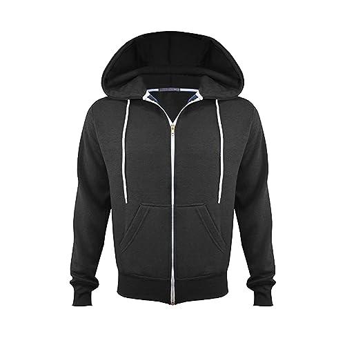 Mens Hoodies Zipper Fleece Plain Hooded Sweatshirt Hoody Jumper Sweater Jacket