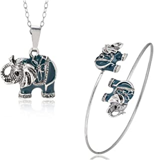 Enamel Elephant Jewelry Sets for Girls Animal Elephant Necklace Earring Bracelet Bangle Set Unique Ethnic Jewelry