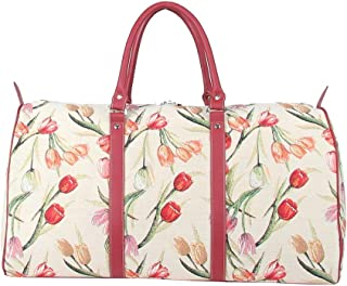Tulip Floral Ladies Women's Tapestry Carry-on Overnight Weekender Duffel Travel Bag by Signare (BHOLD-TULWT)