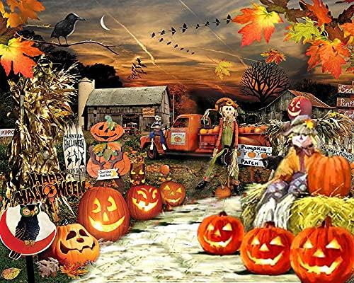 Halloween Diamond Painting, Pumpkin Harvest Full Drill Diamond Art Kits for Adults Crystal Rhinestones Cross Stitch Paint with Diamonds for Home Wall Decor 12x16 Inch