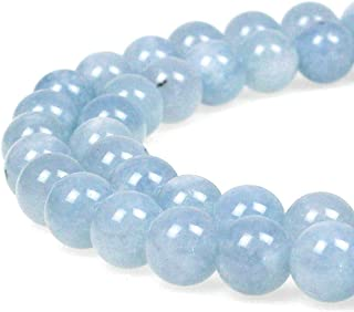 JarTc Natural Round Aquamarine Gemstone Spacer Loose Beads Spacer Beads for DIY Jewelry Making Strand 15