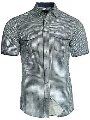 Trisens Herren Hemd Shirt Kurzarm Baumwolle Kontrast Knopfleiste Polo Party, Farbe:Dunkelblau, Größe:XL