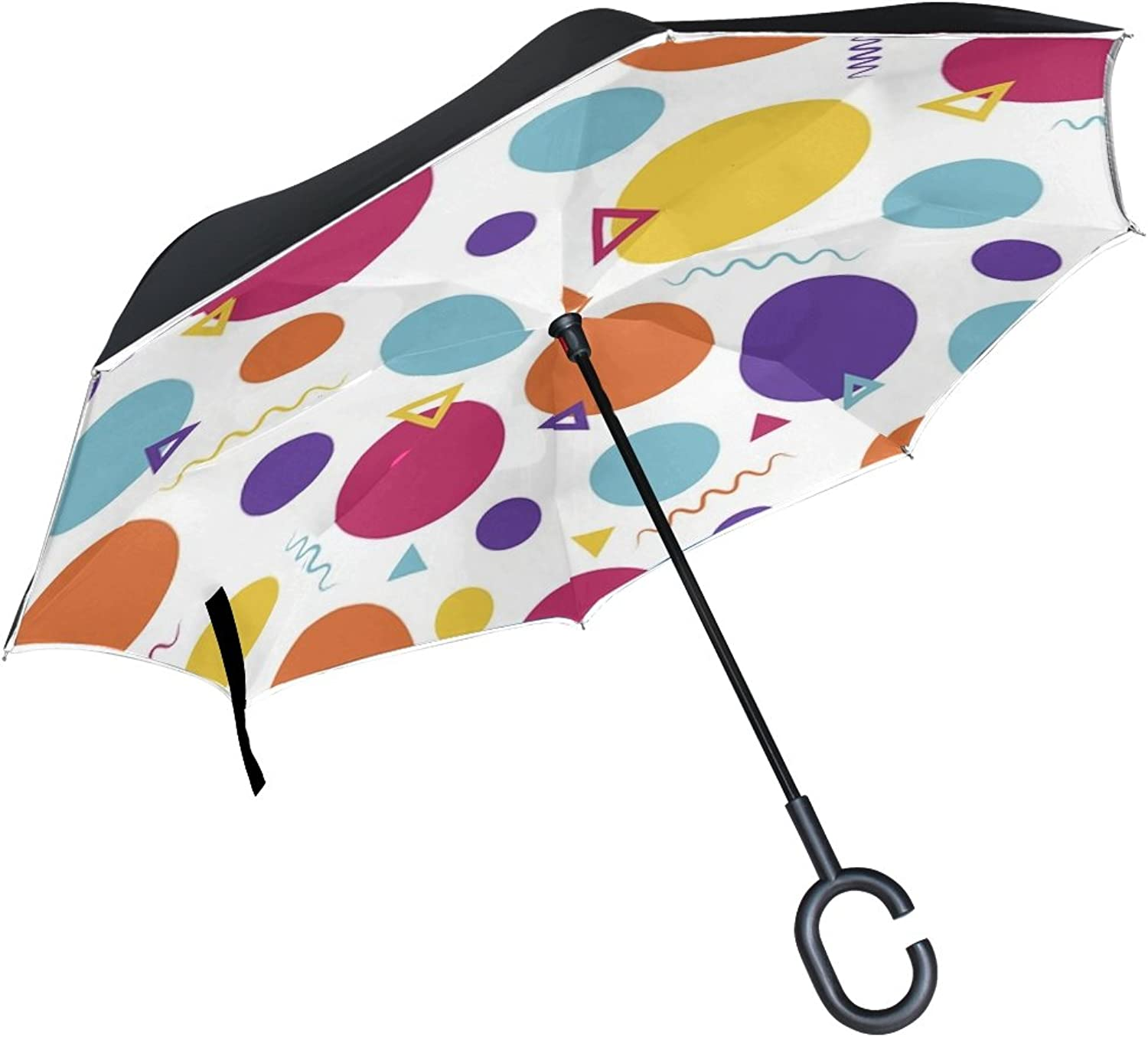 Double Layer Ingreened Polka Dot Memphis Multicolor Umbrellas Reverse Folding Umbrella Windproof Uv Predection Big Straight Umbrella for Car Rain Outdoor with CShaped Handle