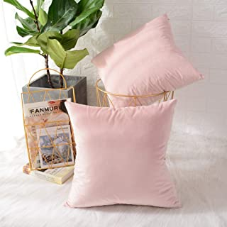 MERNETTE Pack of 2, Velvet Soft Decorative Square Throw Pillow Cover Cushion Covers Pillow case, Home Decor Decorations for Sofa Couch Bed Chair 20x20 Inch/50x50 cm (Light Pink)