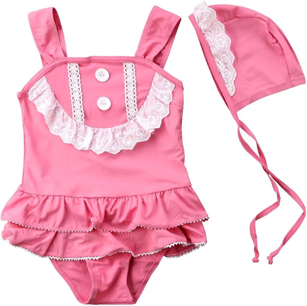 Kids Girl One-Piece Swimsuit Ruffles Lace Trim Sleeveless Swimwe