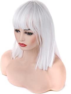 Morvally Short Straight Bob Wig with Flat Bangs Natural Looking Heat Resistant Synthetic Hair Cosplay Costume Wigs (14 inches White)