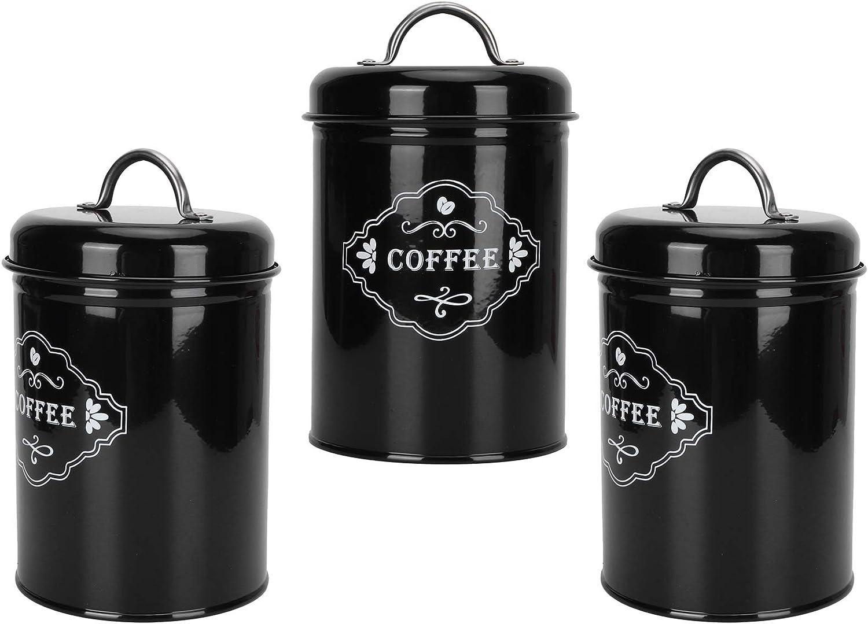 Coffee Storage Can 3Pcs Max 73% OFF Black Sealed Jar Gorgeous Set Home Kitchen Stora