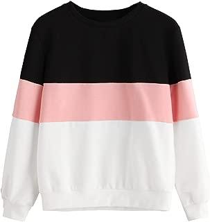MAKEMECHIC Women's Color Block Drop Shoulder Crewneck Sweatshirt