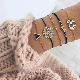 Edary Lot de 4 bracelets boho en perles et pierres pr cieuses noires, bracelet fait la main, cha ne de main pour femmes et...
