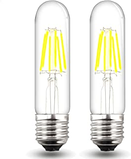Bonlux Dimmable T10 Tubular Medium Base LED Filament Bulb 120V 6W Daylight 6000k T10 Tubular Filament COB LED Light Bulb for Display Cabinet Showcase Desk Light (Pack of 2)