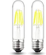 Bonlux Dimmable LED T10 Tubular Filament Bulb with Medium E26 Base 120V 6W Warm White T10 Tubular Filament COB LED Light Bulb for Display Cabinet Showcase Desk Light (Pack of 2)