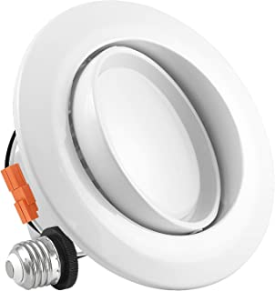 Luxrite 4 Inch Gimbal LED Recessed Light, 10W, 3000K Soft White Dimmable, Directional Ceiling Light, 720 Lumens, Energy Star & ETL Listed, CRI 90, Damp Location - LED Eyeball Recessed Lighting