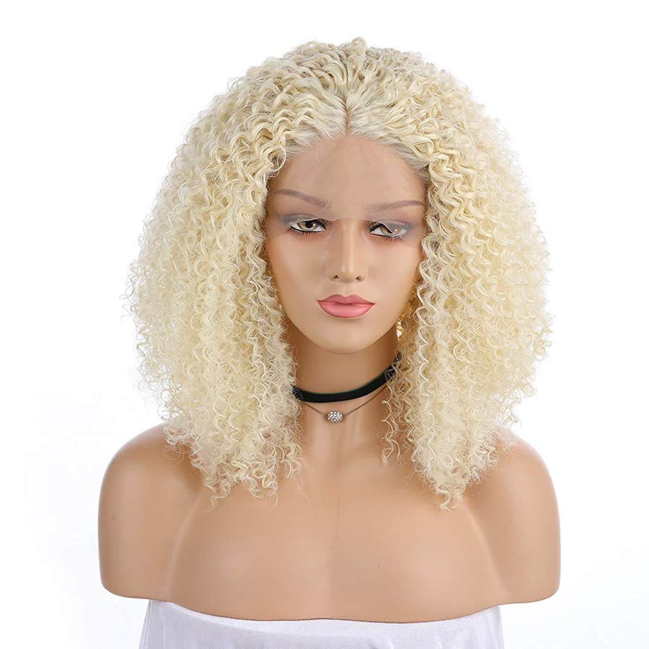 Short Hair Platinum Gold Lace Front Wig Part Synthetic Wigs Long Curly Wig Women (a)